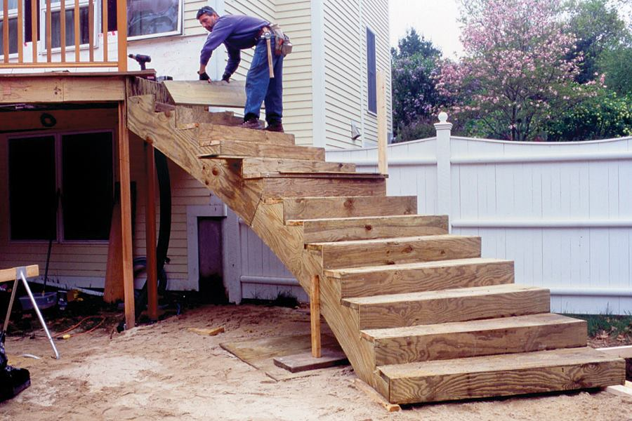 Curved deck stairs professional deck builder First step to building a house
