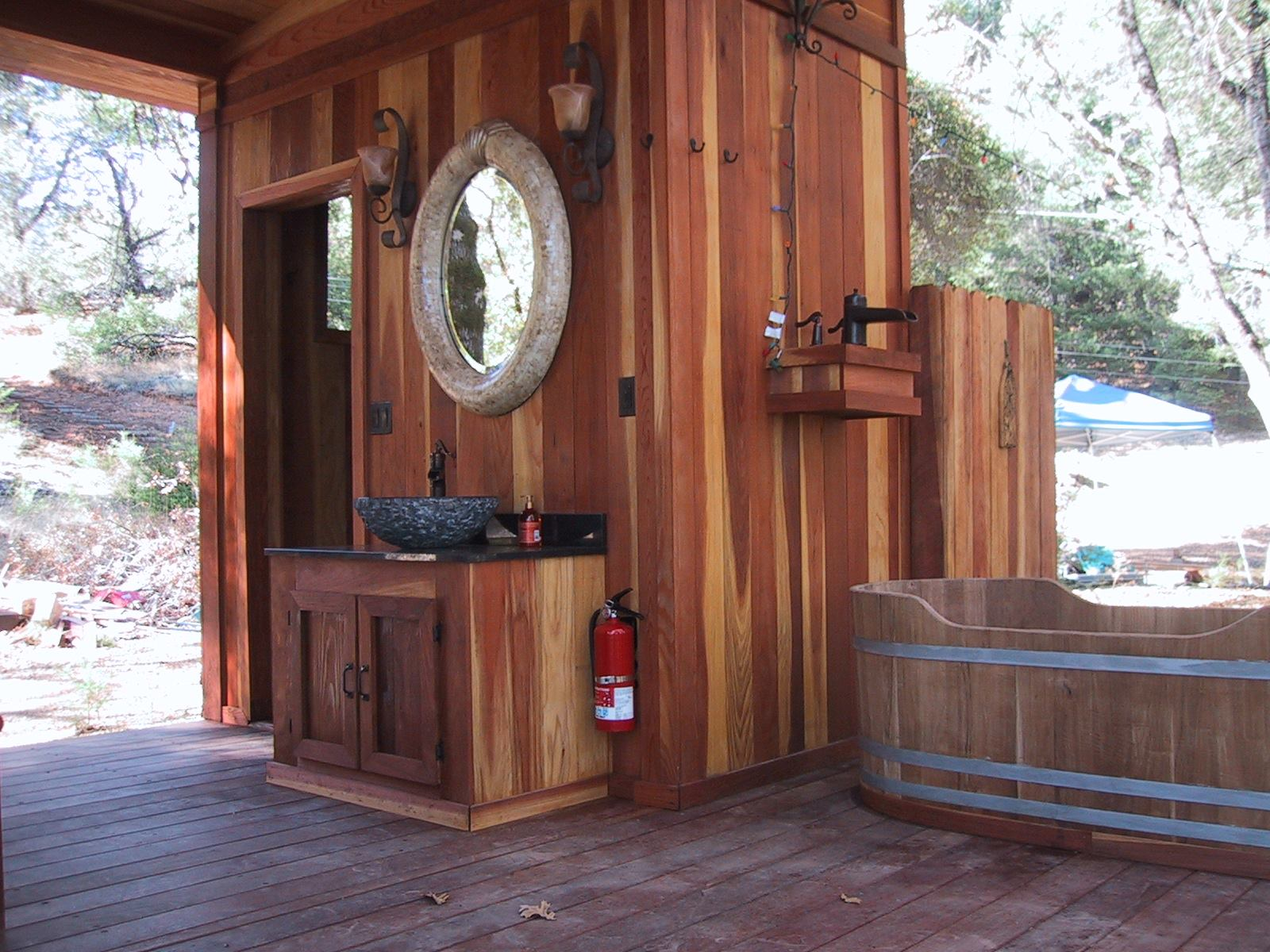 Redwood Bath House Professional Deck Builder Outdoor