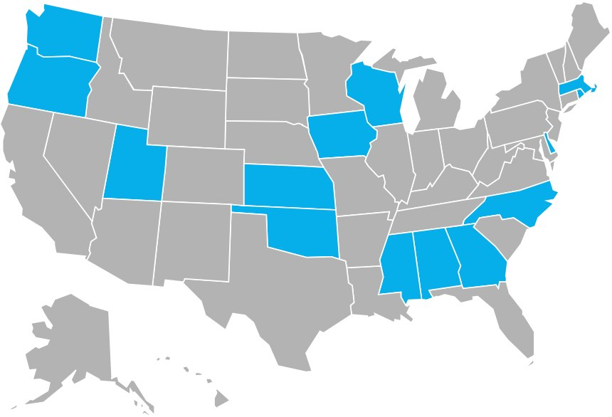 Map of states with state-run programs