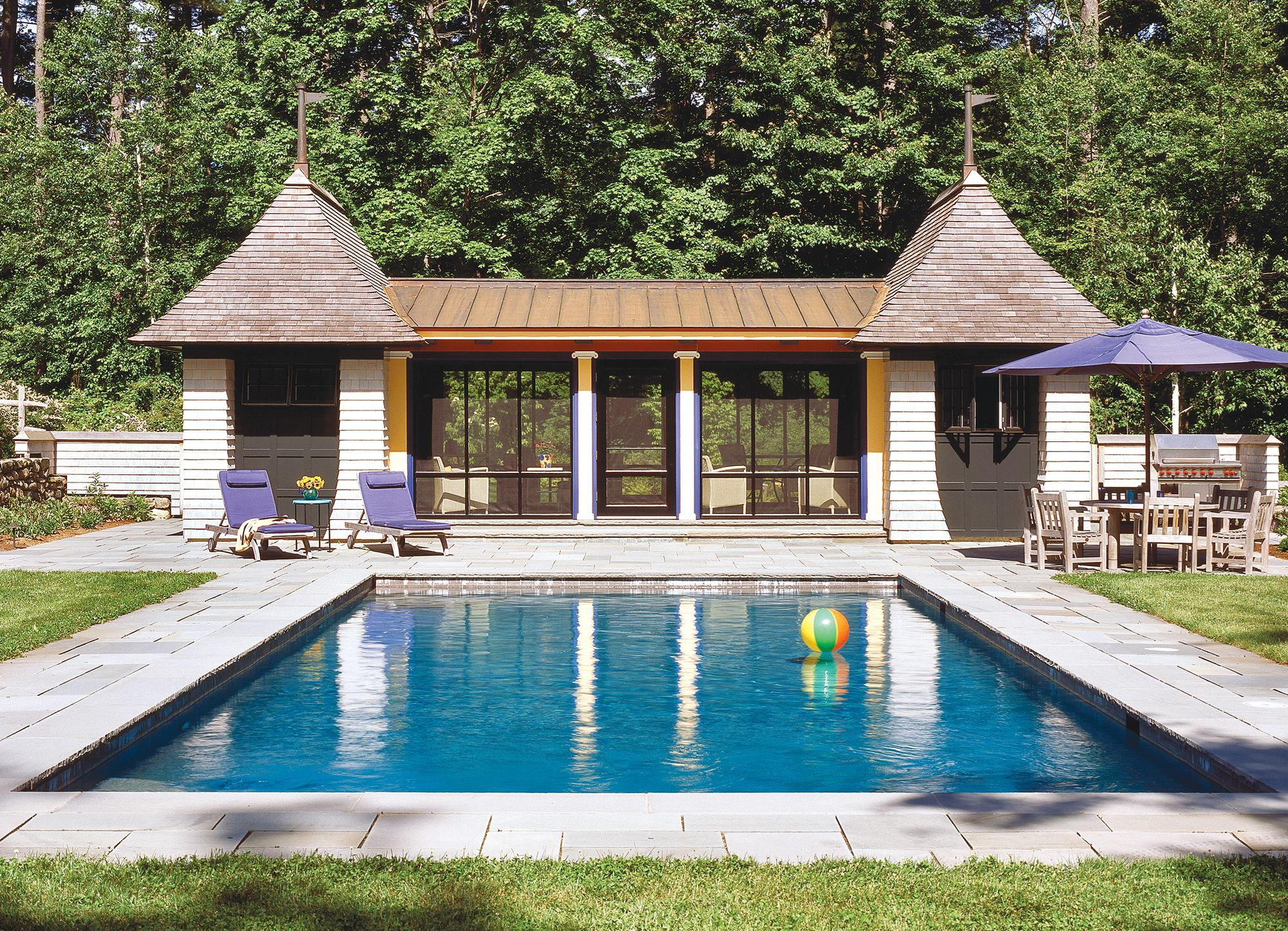Pool houses custom home magazine design vacation for Home plans with pools