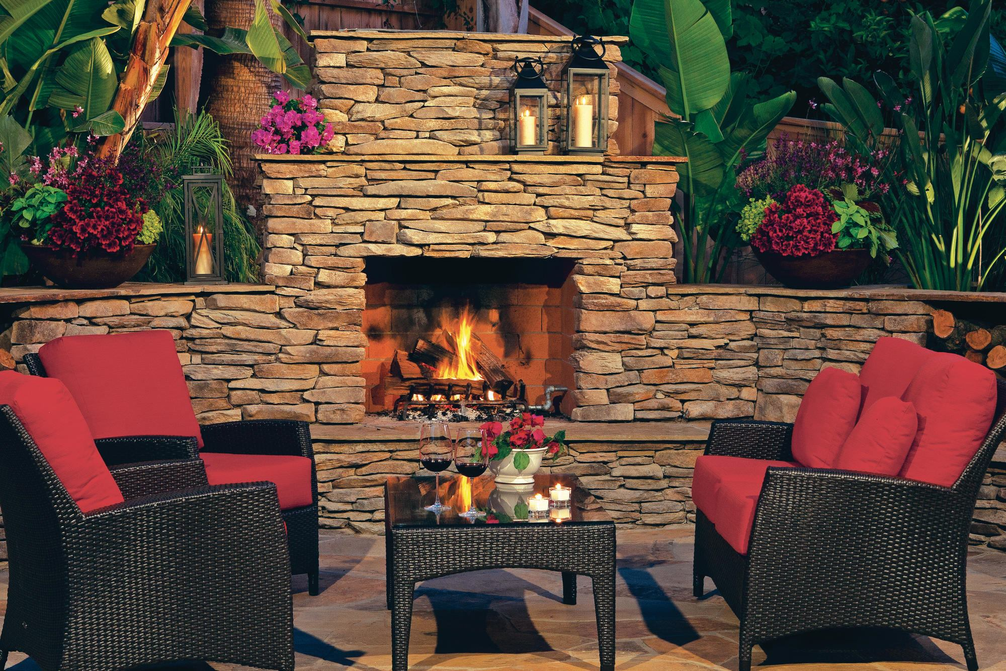 Modular wood burning fireplace from eldorado stone Prefab outdoor wood burning fireplace