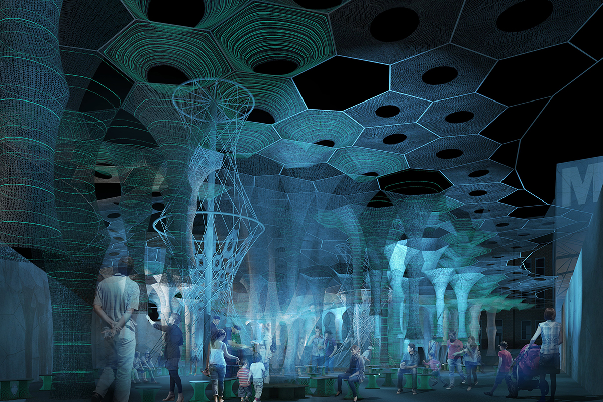 Jenny Sabin S Photoluminescent Quot Lumen Quot Installation Wins