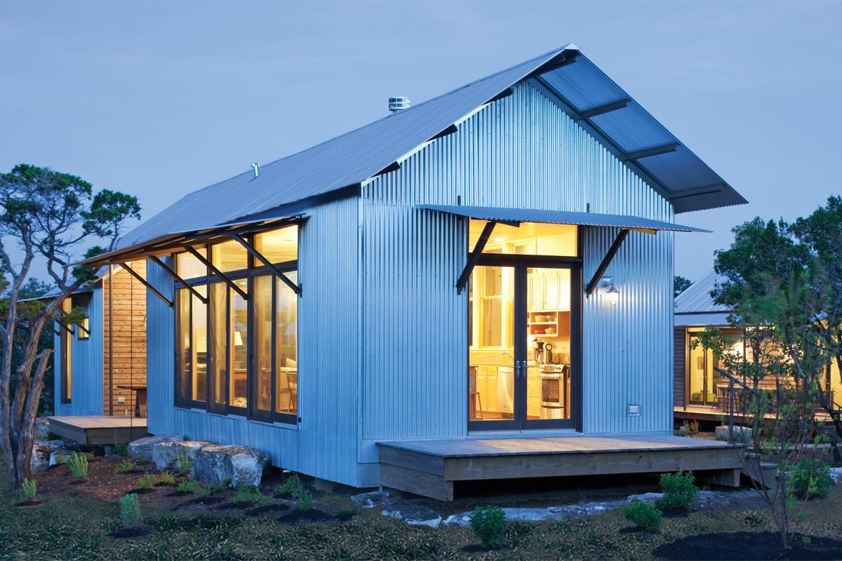 Miller ranch porch house vanderpool texas residential for Prefab lake house