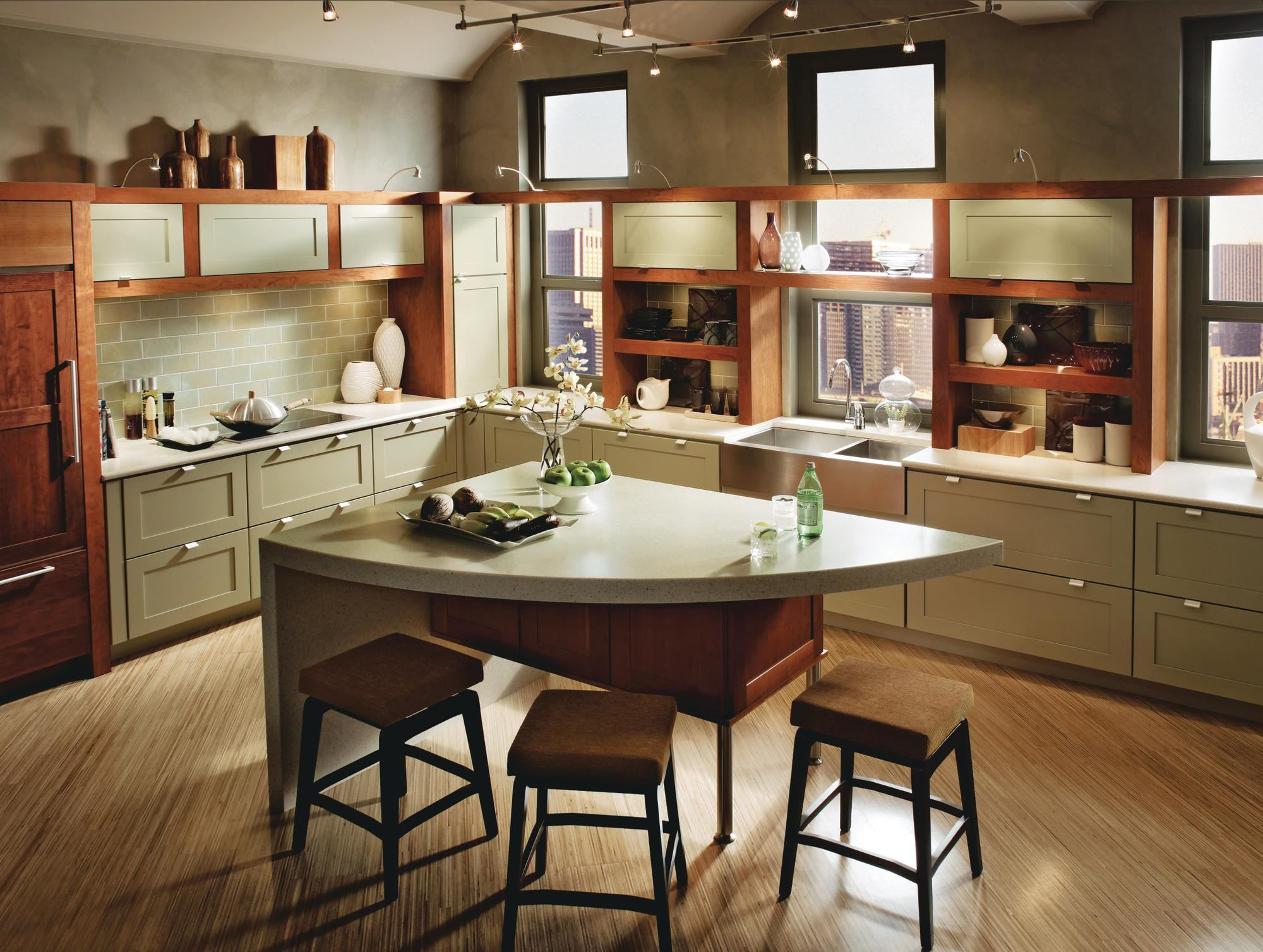 Recycled content cabinets from kraftmaid ecobuilding - Materials for kitchen cabinets ...