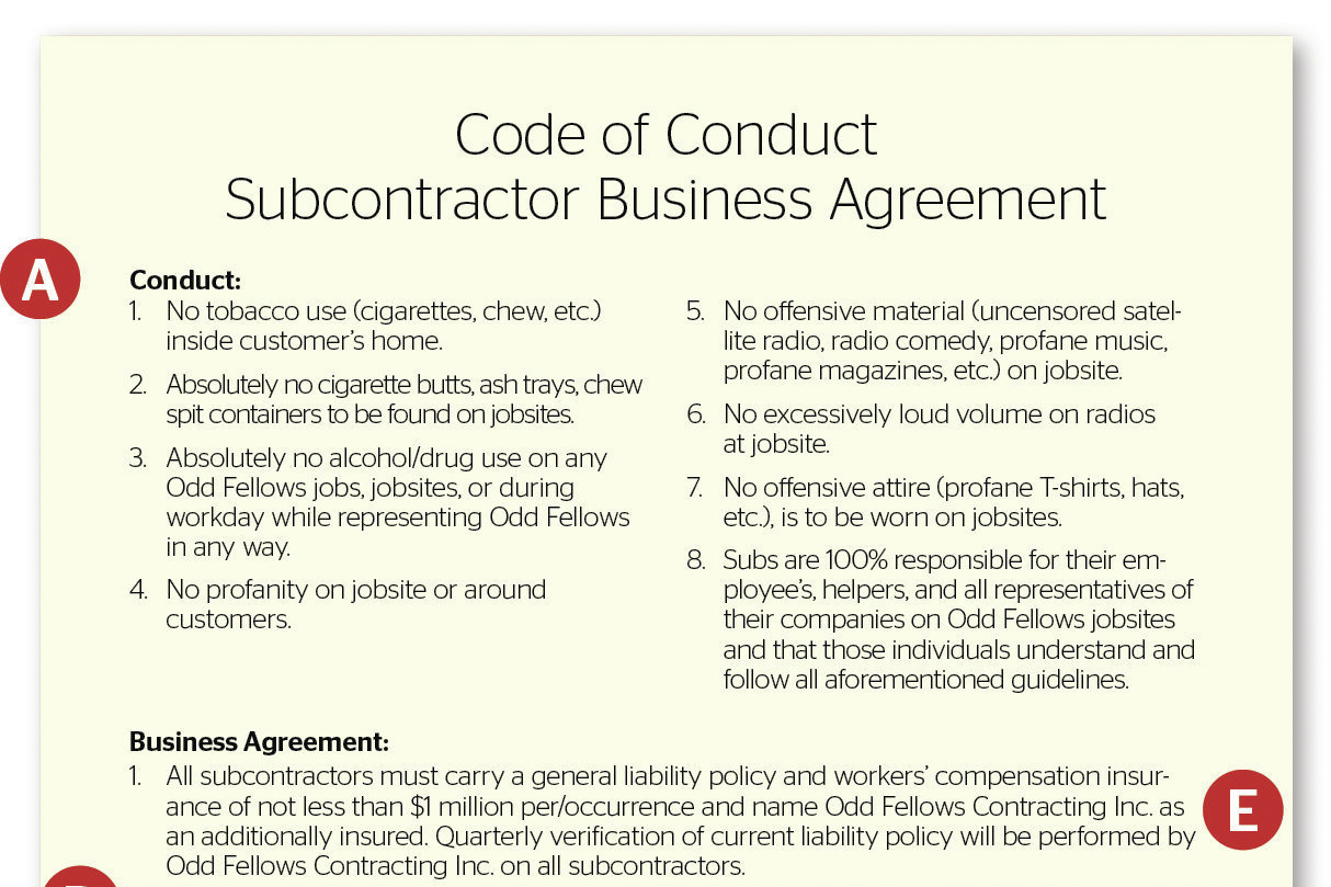 Playing by the Rules Subcontractor Agreement – Subcontractor Agreements