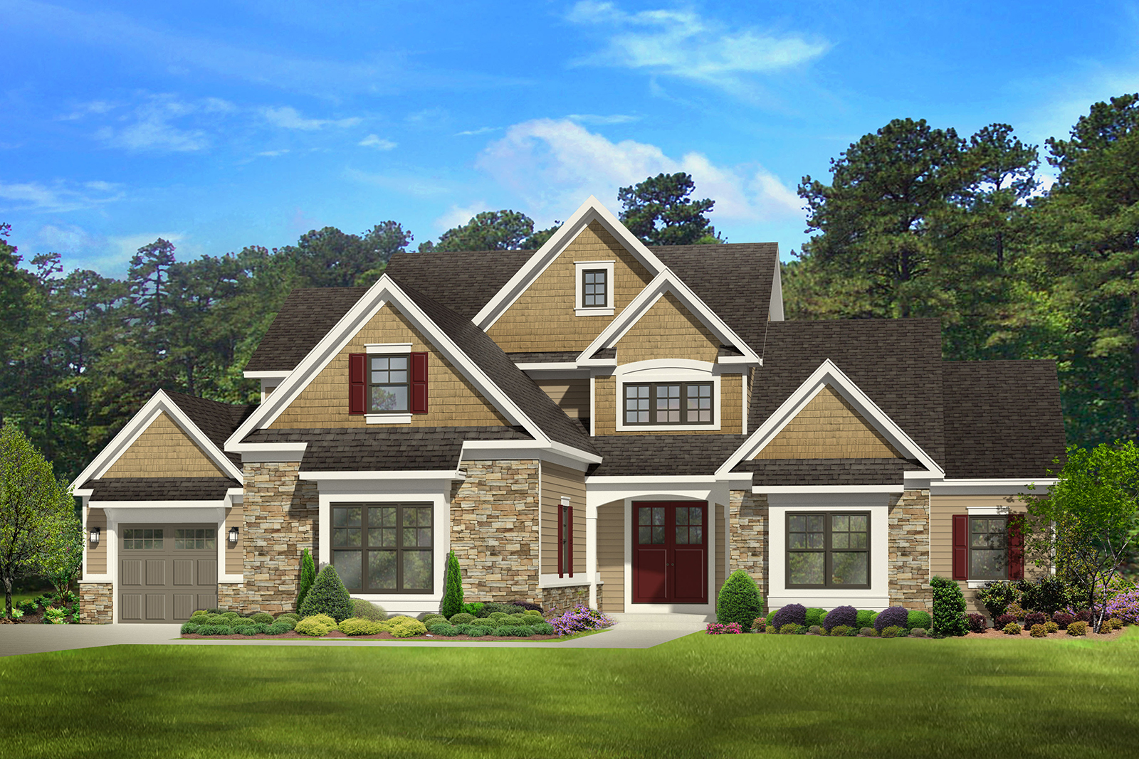 How to downplay a big garage break it up builder for Four gables house plan with garage