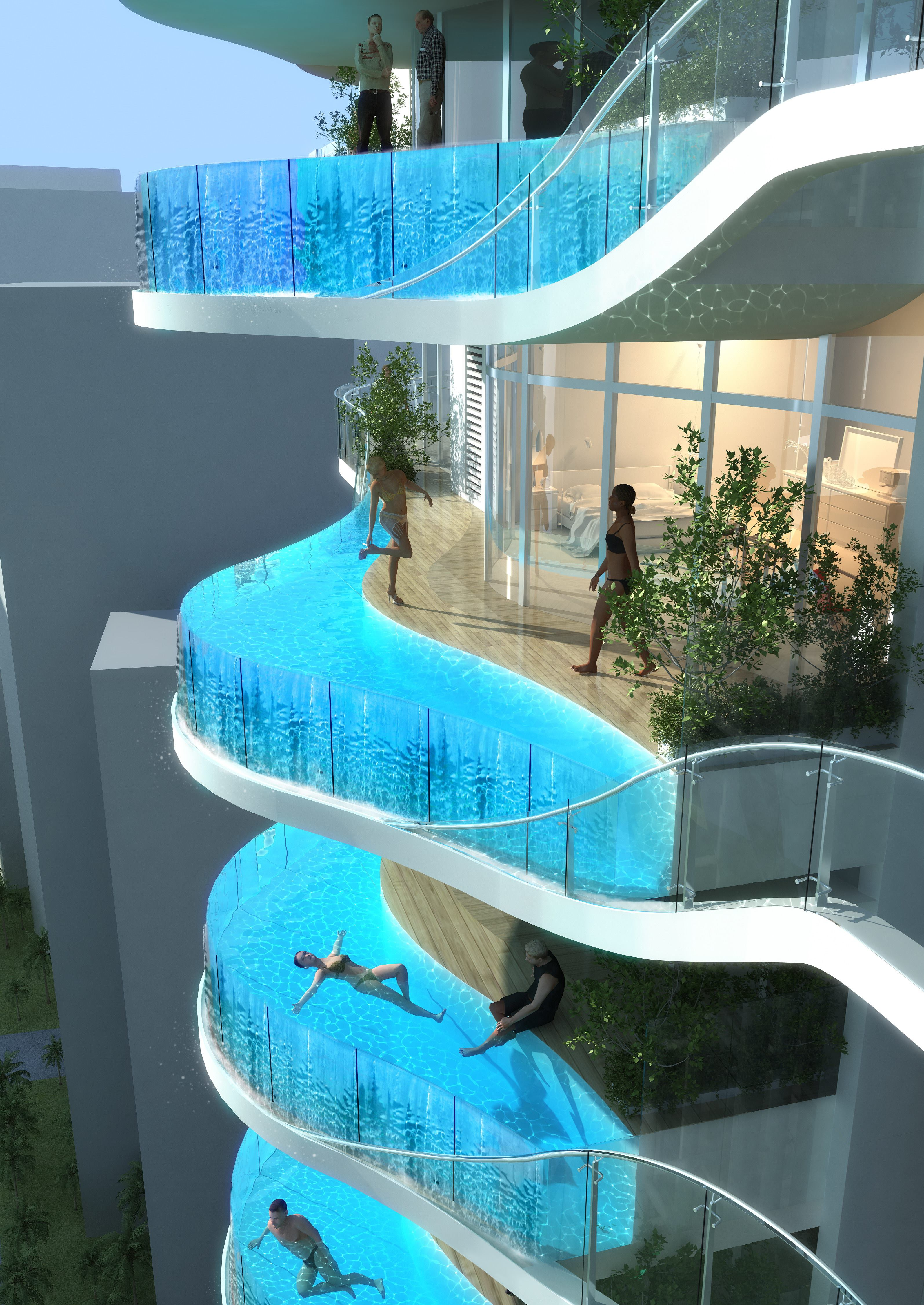 Hong kong architects create pool in the sky multifamily for Pool design magazine