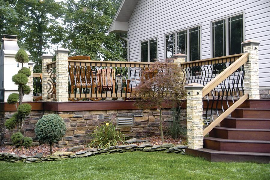 Stone Skirt Trims Out The Deck Professional Deck Builder