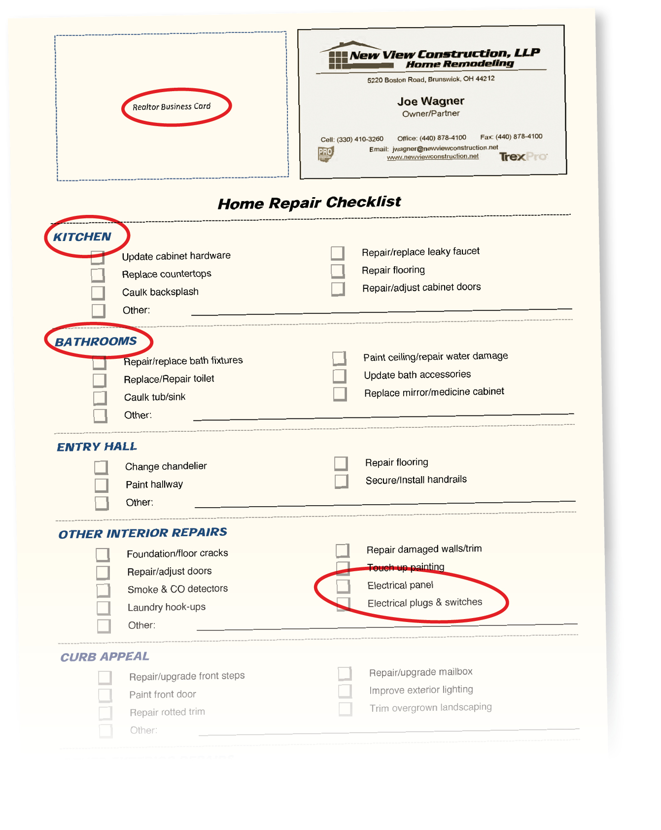 Home repair checklist gives remodeler a foot in the door for Contractor checklist for building a house