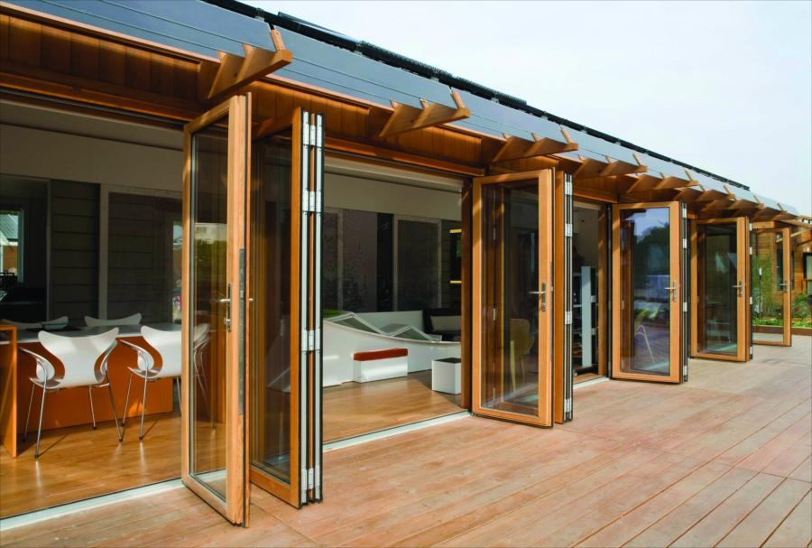 Folding Glass Walls : Wood folding glass wall system by nana systems