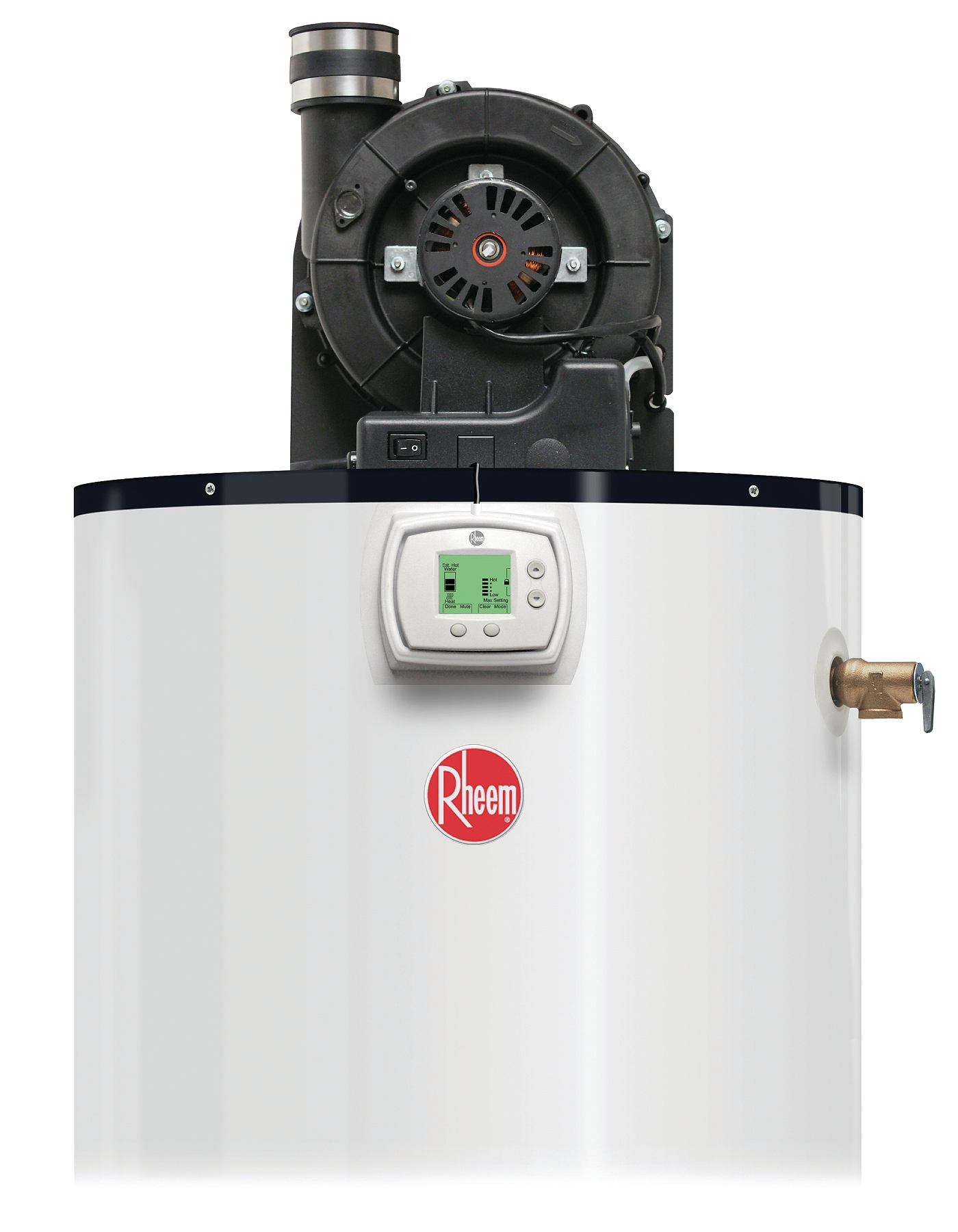 How to vent a hot water heater - Rheem Power Vent Water Heater Lcd Display Builder Magazine Products Electrical Water Heaters Jeff Mahoney Rheem Manufacturing Co Rheem
