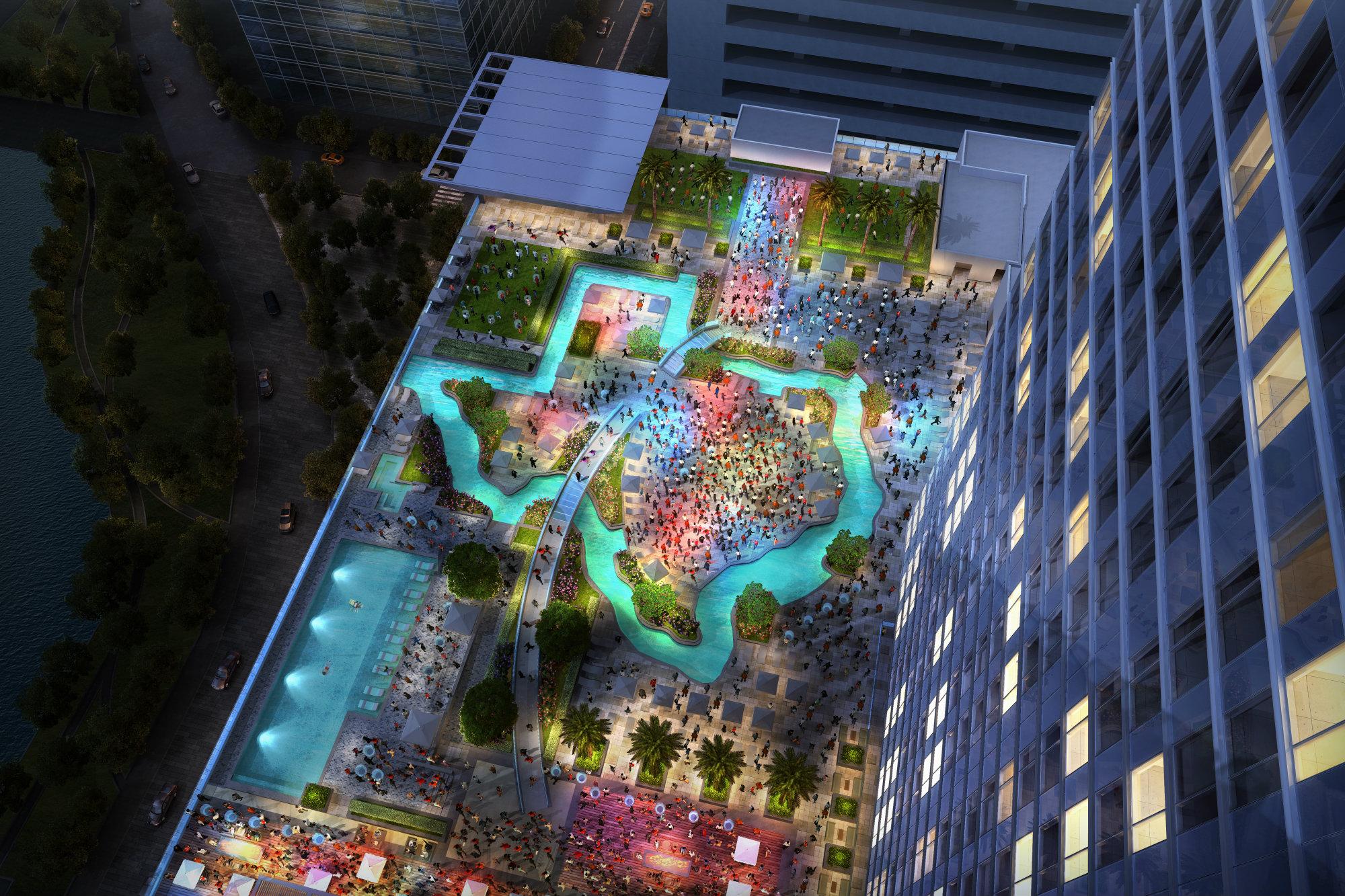 Houston hotel debuts texas shaped lazy river aquatics - Homes for sale with swimming pool el paso tx ...