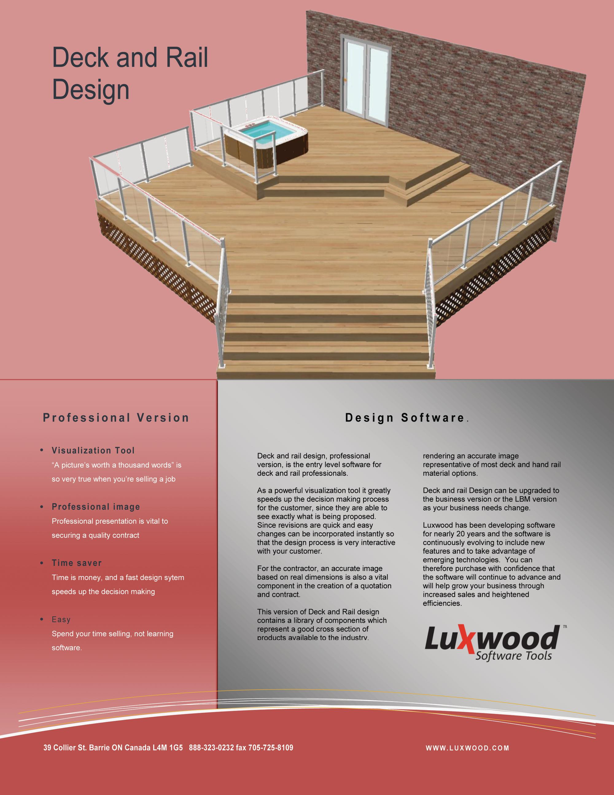 Deck design software from luxwood remodeling decks for Design and build software