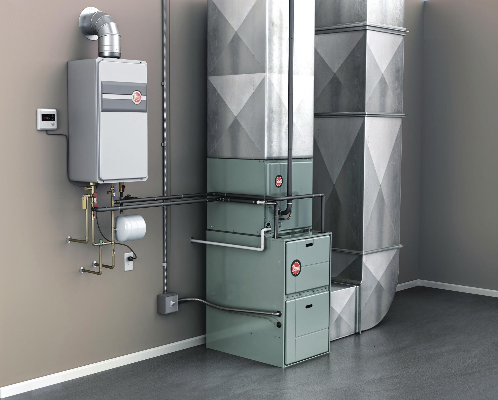 Rheem integrated hvac and water heating system powered by for Which heating system is best for a house