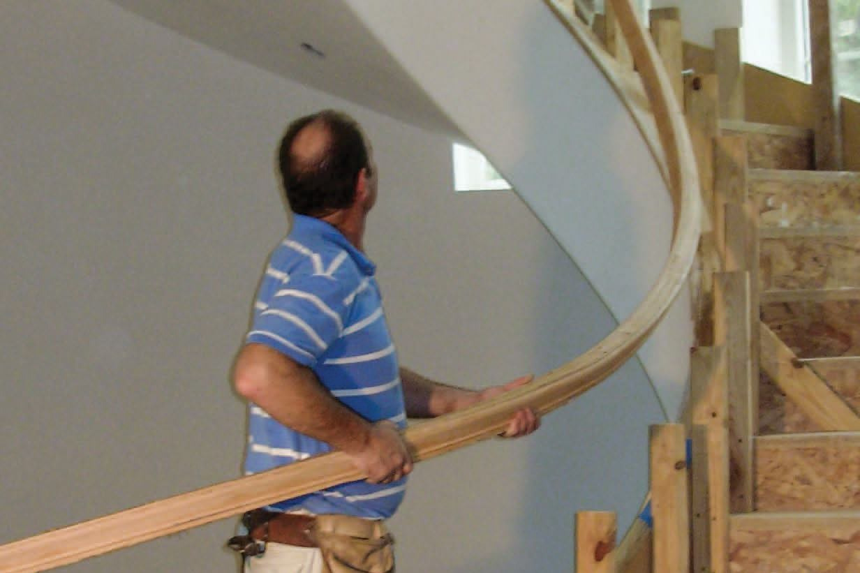 Building a curved handrail jlc online staircases - Interior stair railing contractors ...