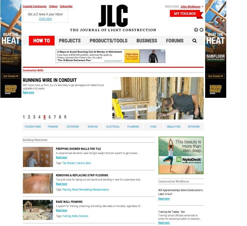 The Journal of Light Construction website redesign launches August 17, 2015.