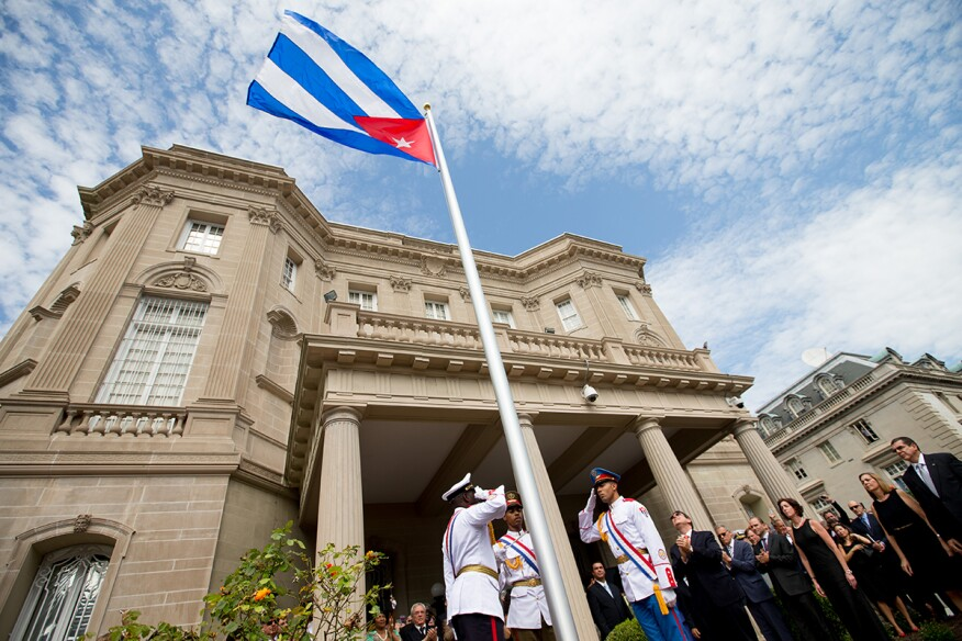 The Cuban flag was raised over the new embassy today in Washington.