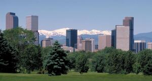 Denver skyline from City Park Golf Course.