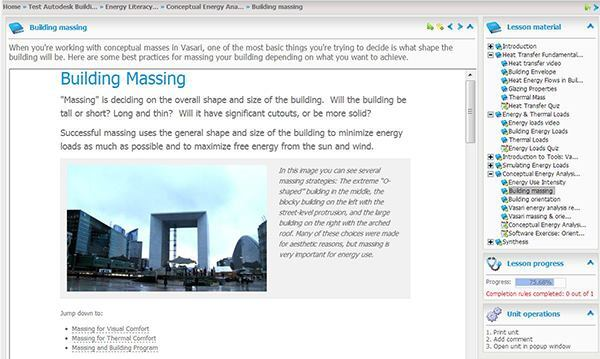Screenshot from Autodesk's BPAC tutorial introducing the concept of building massing