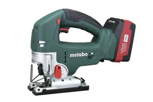 Metabo STA18LTXStroke: 1 inch; 0-2,500  Cutting modes: Straight + 3 orbital  Bevel: Takes Allen key  LED light: Yes  Weight w/battery (by ToTT): 6.90 lbs  Web price (bare; kit): $129; n/a  Kit includes: Sold bare only  Country of origin: China  Pros: LED light provides excellent visibility; barrel-grip version available (not tested)  Cons: Blade tends to skew in orbital; slowest tool in straight cutting mode; dust blower less effective than others