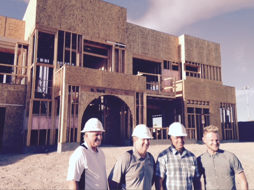 Responsive Home frame-walk leaders, Pardee Homes purchasing director Bill Hughes, project director Larry Simon, division president Klif Andrews, and creative director Bobby Berk.