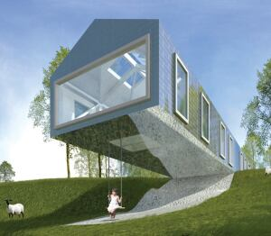 The cantilevered Balancing Barn, by the Dutch firm MVRDV.