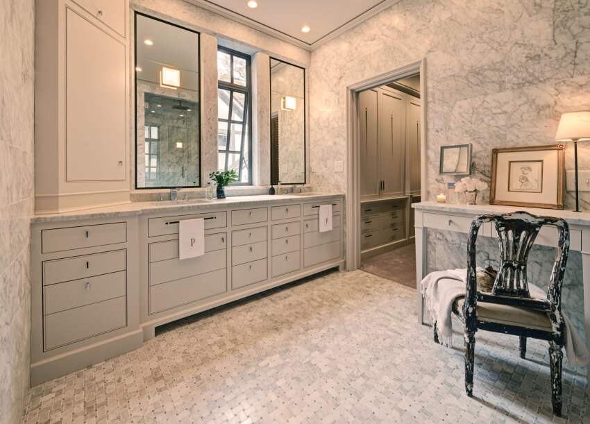 Remodeling design awards elegant marble bath remodel for Award winning bathroom designs
