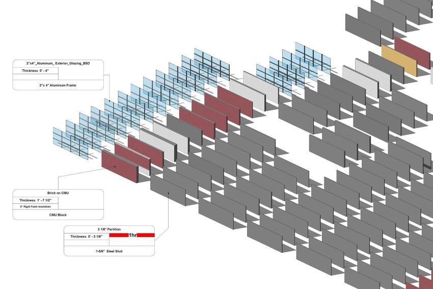 A sample of the approximately 200 wall types BSD will include in its free Autodesk Revit 2013 object catalog