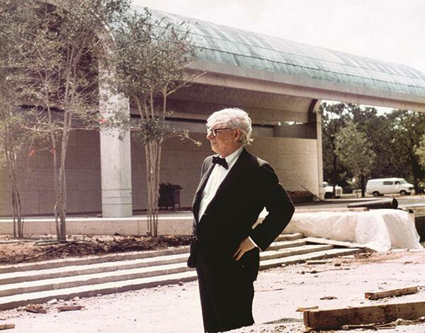 Louis Kahn in front of the completed Kimbell Art Museum, photographed on Aug. 3, 1972.