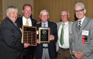 Left to right, Danny Batten (2001,) John Cramer (1997,) Duncan, Jimmy Wall (1999,) and Upton Award Committee Chairman Freddie McMahan (2005.)