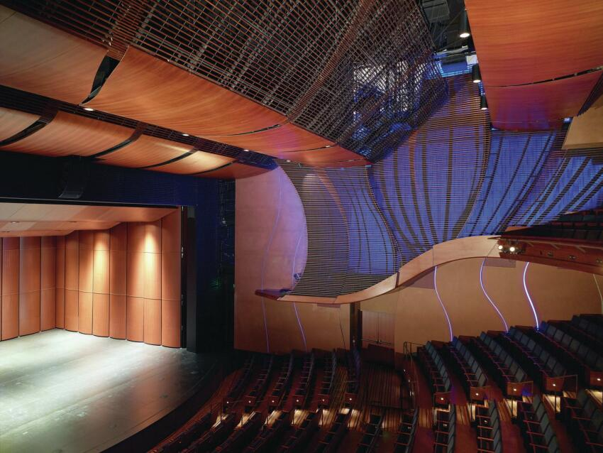 The Bram Goldsmith Theater, lined with acoustically and visually transparent wood paneling, seats 500.