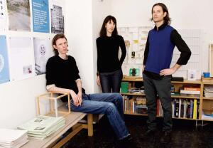 Lars Fischer, Maria Ibanez, and Todd Rouhe (left to right) share three firms - IdS/R Architecture, Lars Fischer Architecture, and common room-operating out of the same office on Grand Street in Manhattan. Common room 2 is their name for the public lobby of their building, where they regularly curate exhibitions.