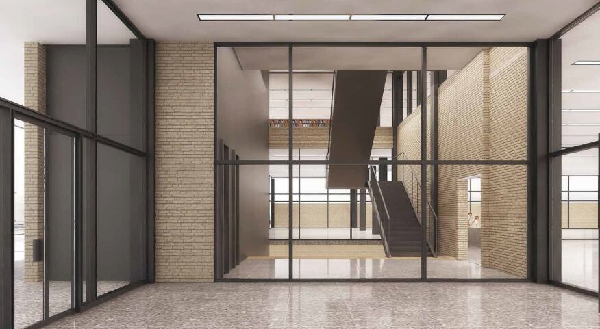 """Option """"A"""" core of proposed renovation, looking west from main entrance vestibule."""