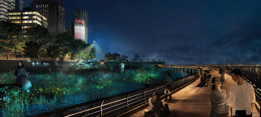 CONCEPTO's competition-winning lighting master plan design for the banks of the Huangpu River in Shanghai incorporates bioluminescent lighting elements in the water.