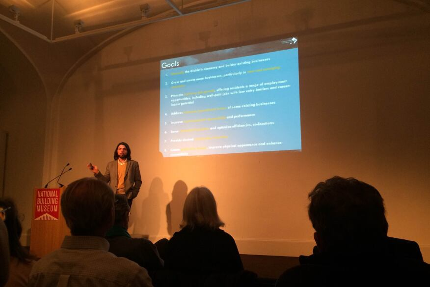 "Limauro presenting ""Reimagining Industrial Areas in D.C.,"" at the National Building Museum."
