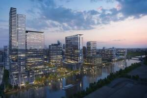 A rendering of Perkins + Will's initial concept for the first phase of the Riverline project, which will include 62 townhomes, a 29-story apartment building, and a 19-story condo building.