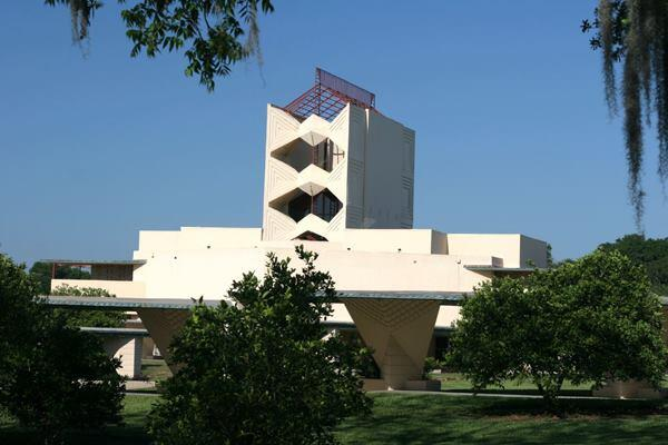 The Annie Pfeiffer Chapel, designed by Frank Llyod Wright, at Florida Southern College.