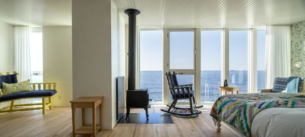 A view inside a guest suite at the Fogo Island Inn.