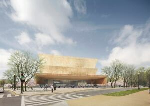 The inverted 3D trapezoids that will form part of the National Museum of African American History and Culture allude to the artistic traditions of West Africa.