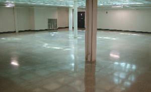 The polished concrete floor is a major component of the Harm A. Weber Academic Center's effort to obtain a Gold or Silver LEED rating.