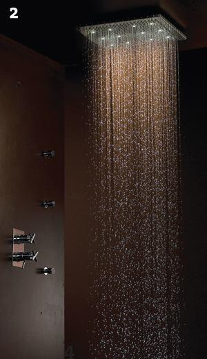 Dream Light Rain Canopy showers  Jaclojaclo.com  Low-voltage LEDs illuminate the water as it falls - Available in 16-inch round, 20-inch-by-16-inch rectangular, and 16-inch square shapes - Brass construction with two ceiling mounts: surface or flush - Replaceable rubber jets