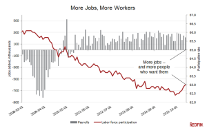 Employment rates compared with labor force participation rates.