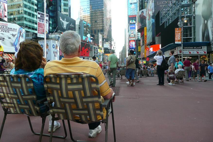 Beach chairs in Times Square after Mayor Bloomberg closed off Broadway to traffic
