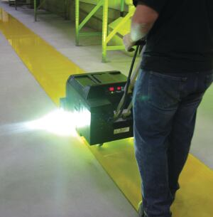 The width of the area that can be UV-cured with one pass of portable equipment ranges from 12 to 34 inches.