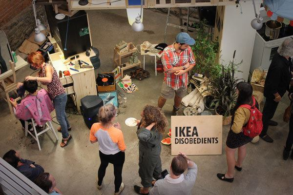 "An image from ""Ikea Disobedients,"" which debuted in Madrid in 2011 and was restaged last year at the Museum of Modern Art's PS1 satellite in Queens. In fashioning this political commentary on domestic living in major metropolitan areas, Jaque took basic Ikea furniture and piled it up sideways and upside down to create a stage set that resembled a tree house. New Yorkers Jaque had met during his research became the actors, performing their domestic lives on this makeshift stage."