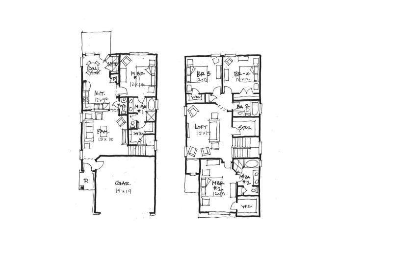 Too Close for Comfort This plan achieves the goal of two master bedrooms—one upstairs and one downstairs—but the first floor doesn't have much elbow room.