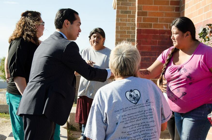 Julián Castro, who has visited 19 cities and 16 states in the three months since becoming the nation's top housing official, calls a trip to the Pine Ridge Indian Reservation in South Dakota one of the most poignant. Visiting a four-bedroom home with 16 residents drove home the need to make important investments in housing, he says. (Photo: Courtesy of HUD)