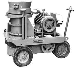 This rotor-type shotcrete machine came to the market about 50 years ago, although some of these types of machines are still in use today.