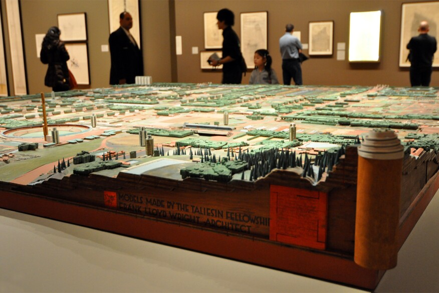 "A model of Wright's Broadacre City Project was on display at MoMA's 2014 exhibition, ""Frank Lloyd Wright and the City: Density vs. Dispersal"""