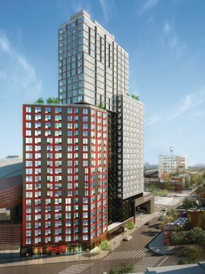 B2 BKLYN, the 32-story tower designed by SHoP Architects and constructed using modular development, is one of three residential towers of Pacific Park Brooklyn.